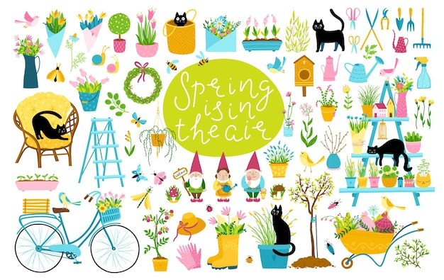 Garden spring set with black cats. a large collection of cartoon elements in a simple childish hand-drawn style.