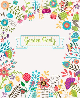 Garden or summer party invitation template or poster. nature flower set design vector illustration plant