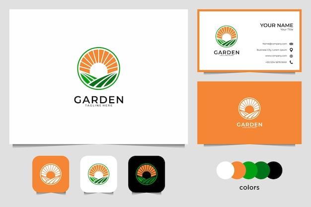 Дизайн логотипа восхода солнца сада и визитная карточка. хорошее использование для ландшафтного логотипа