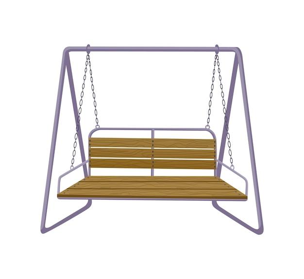 ガーデンスイングベンチ。古典的な屋外の庭の木製の掛かる家具。チェーンでフレームにぶら下がっている木製のポーチスイング。リラックスするためのパティオ要素