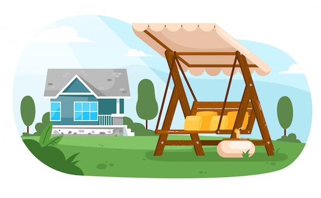 ガーデンスイング。キャノピー、テーブル、クッション付きコテージハウスの夏の裏庭の庭の空の木製スイングベンチシート家具。自然の中のアウトドアレジャー