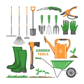 Garden tool gardening equipment rake shovel trowel and watering can of gardenerrmin farm
