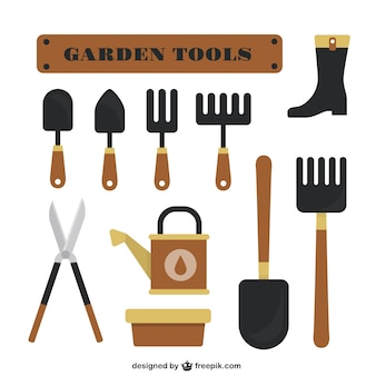 Garden tools flat design set