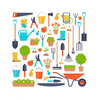 Garden tools.   flat illustration. gardening icons stylized in square shape.