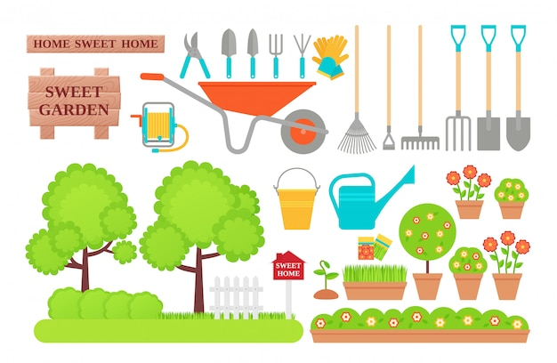 Garden tools. gardening collection.  flat illustration.