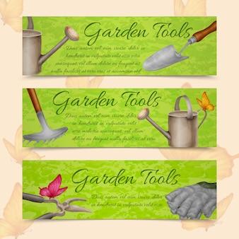 Садовые инструменты горизонтальные баннеры