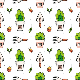 Garden tools, pots and plants doodle hand drawn seamless pattern