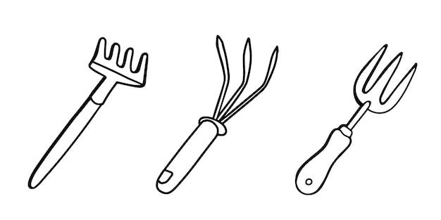 園芸工具は、白で隔離された土を緩めるための土熊手を設定します。落書きスタイルのイラスト。図