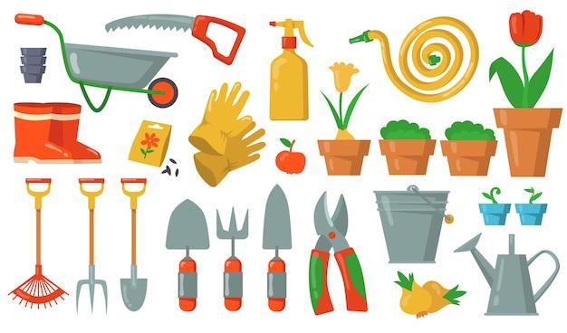 정원 도구 세트. 레이크, 삽, 양동이, 커터, 포크, 장갑, 화분, 카트, 호스, 흰색 배경에 장화 그림. 원예 작업 장비, 농업, 원예 용