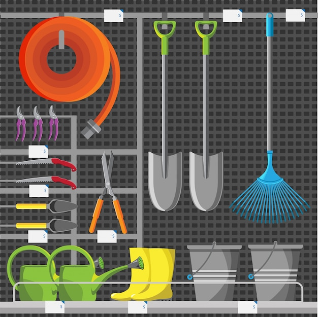 Garden tools shop or store showcase.  gardening equipment. farming icon collection illustration. horticulture and agriculture accessory.