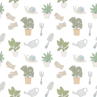 Garden tools with plants   seamless pattern