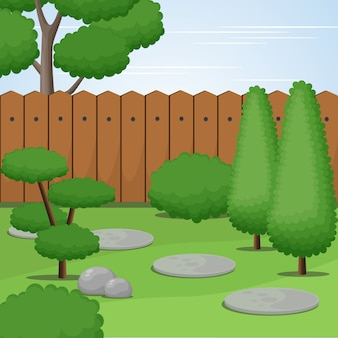 Garden view with trimmed trees and bushes, vector illustratioon