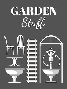 Garden vintage furniture vector illustrations set
