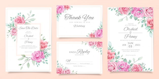 Garden wedding invitation card template set with soft watercolor flowers and leaves decoration