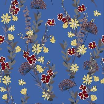 庭の野生の草花シームレスなパターン