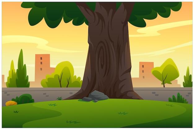 Сад с большим деревом в вечерней атмосфере.