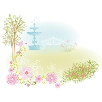 Сад с фонтаном фоновой иллюстрации для дизайна сказочной принцессы