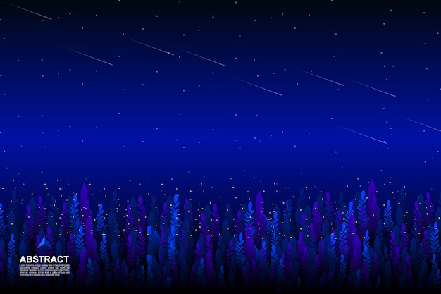 Garden with starry night sky background