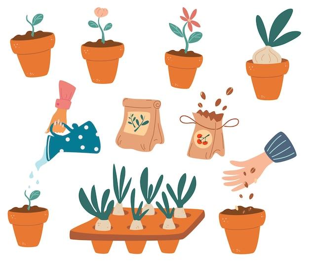 정원 작업 요소 집합입니다. 농업 작업, 식물 재배 또는 이식, 정원 작업을 위한 장비 번들. 어린 식물을 들고 있는 손. 정원사 농장, 꽃 가게 이미지. 벡터