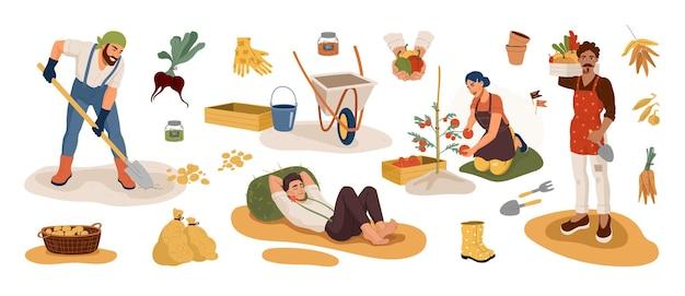 秋の時期に収穫を選ぶ庭師。園芸用品セット。