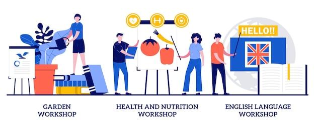 庭のワークショップ、健康と栄養のワークショップ、小さな人々との外国語ワークショップのコンセプト。特別な庭師、栄養士、言語学者教育の抽象的なベクトルイラストセット。