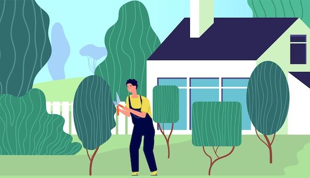 仕事中の庭師。裏庭の庭の労働者、プロのトリミング植物の低木ケア。漫画農業男生け垣剪定ベクトルイラスト。ガーデニングケア、ホビーケア農業裏庭