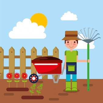 Gardener character with rake garden wheelbarrow flowers and wooden fence vector illustration