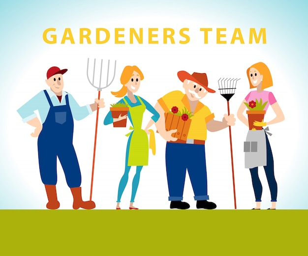 Gardener company portraits.  illustration.