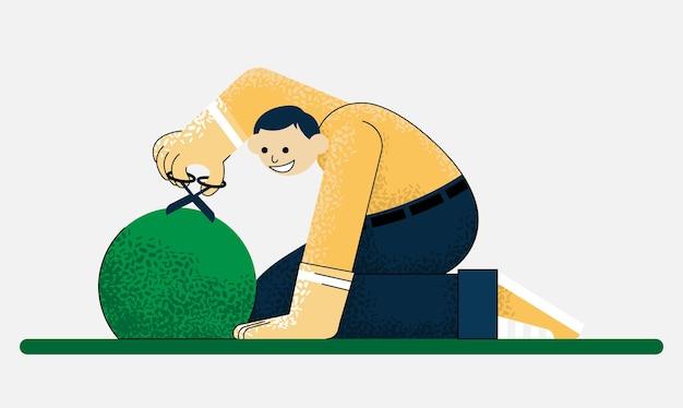 Садовник срезал куст. цветной вектор плоский мультфильм иллюстрации.