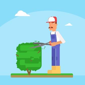 Gardener cutting tree cartoon vector illustration