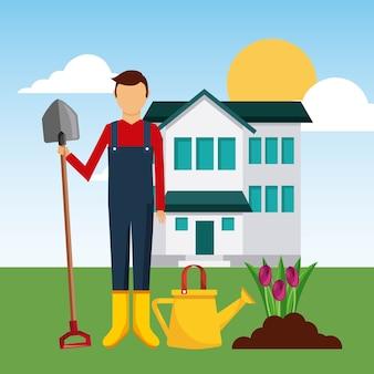 Gardener front house planting tulip flower with shovel