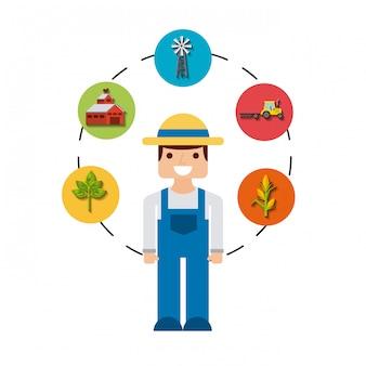 Gardener and gardening icons design