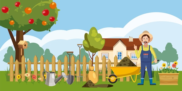 Gardener homestead background