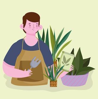 庭師の観葉植物の世話