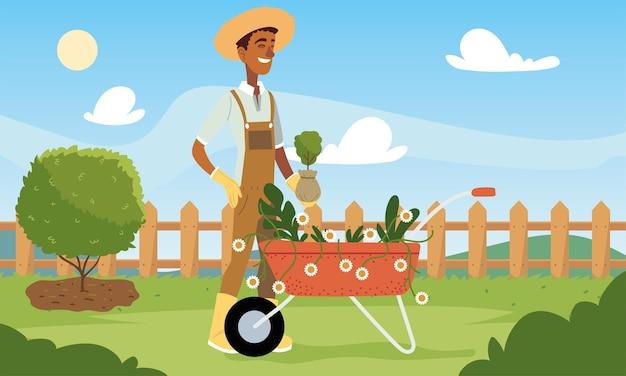 Мультяшный садовник с тачкой цветов и дизайном растений, садовые насаждения и природа