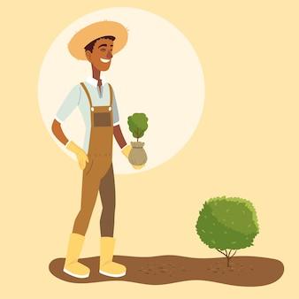 Мультфильм человек садовника с общим дизайном растений и кустарников, садоводство, садовые насаждения и природа