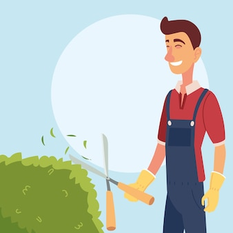 Мультяшный садовник с универсальными плоскогубцами и дизайном кустов, садовые посадки и природа