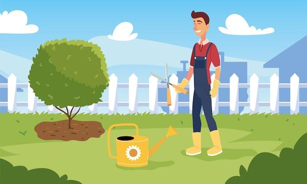 Мультфильм человек садовник с плоскогубцами и дизайн лейки, садовые посадки и природа
