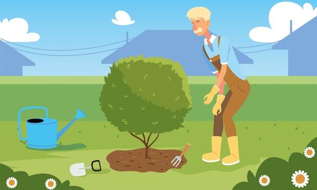 Мультяшный садовник с деревом и дизайном лейки, садовые посадки и природа