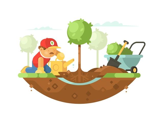 Человек-садовник сажает дерево и поливает молодые саженцы. иллюстрация