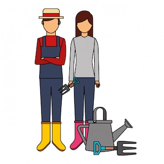 Gardener man and woman with watering can gardening