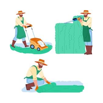 庭師の男は庭のコレクションセットベクトルで動作します。庭師は剪定はさみで生け垣を剪定し、芝刈り機で芝生を敷き、草を刈ります。キャラクター農業労働者フラット漫画イラスト