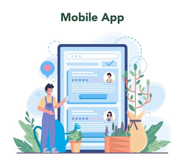 庭師のオンラインサービスまたはプラットフォーム。園芸デザイナービジネスのアイデア。木や茂みを植えるキャラクター。モバイルアプリ。孤立したフラットイラスト