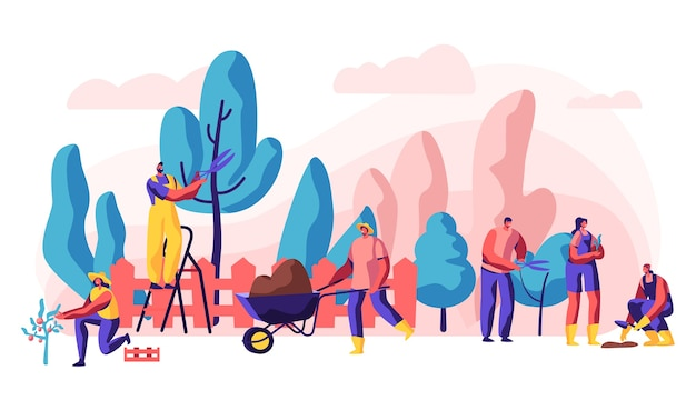 Gardener relaxing activity on summer cottage. concept illustration