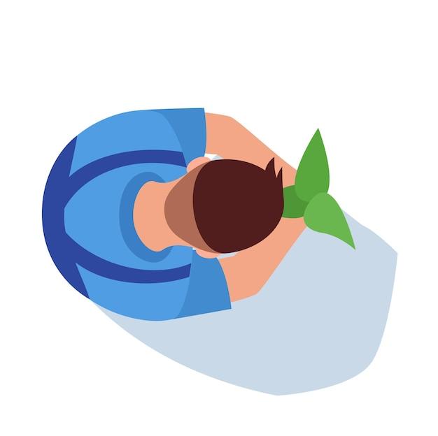 Садовник полу плоский цвет rgb векторные иллюстрации. человек выращивает растения. мужчина-фермер с собранным урожаем. сельское хозяйство и сельское хозяйство. агроном изолированные мультипликационный персонаж вид сверху на белом фоне
