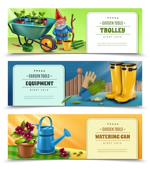 Gardener tools equipment accessories 3 horizontal colorful banners with wellingtons wheelbarrow watering can