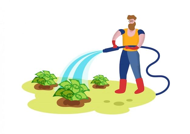 Gardener watering garden bed with dollar bills