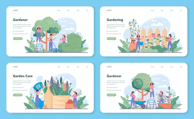 Gardener web layout or landing page set. idea of horticultural designer business. character planting trees and bush. special tool for work, shovel and flowerpot, hose. isolated flat illustration