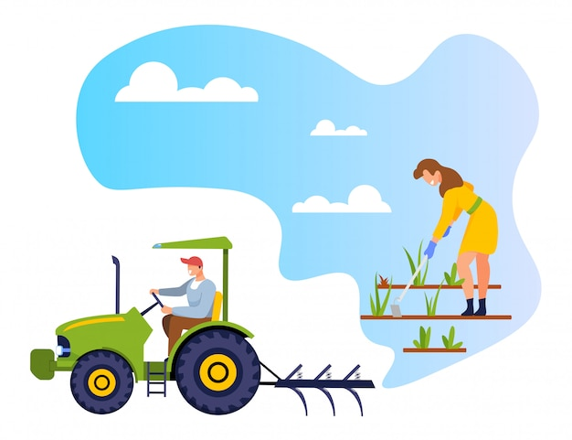 Gardener weeding garden bed worker driving tractor