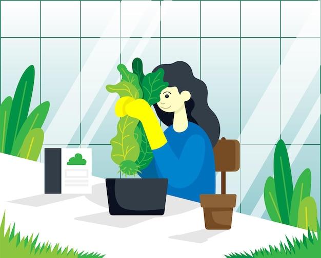 손에 식물을 든 정원사는 그를 돌보는 방법을 생각합니다. 색 벡터 평면 만화 일러스트 레이 션.